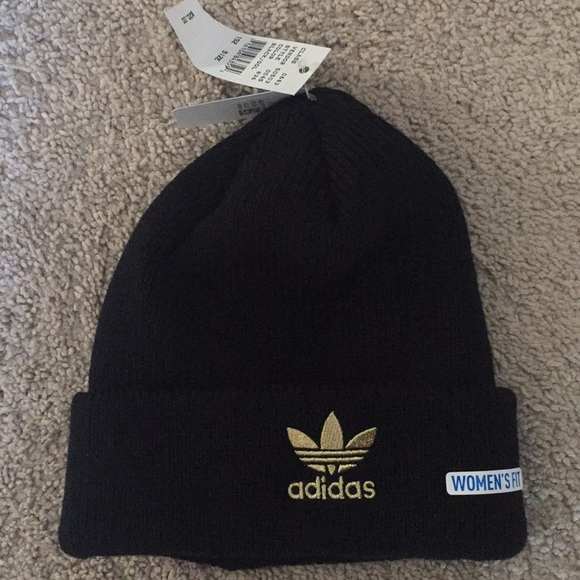 83035e05b932f Adidas Black   Gold Women s Fit Knit Beanie Hat